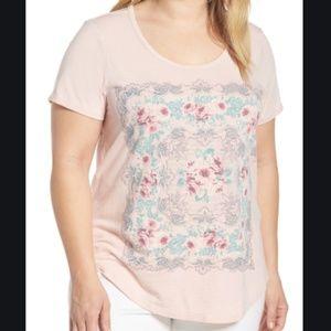 Lucky Brand Women's Plus Sizes Print Tee 1X / 1G